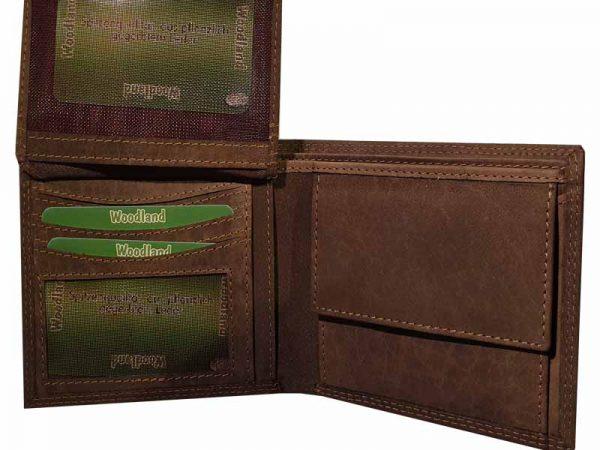 woodland portemonnaie büffelleder braun aufgeklappt