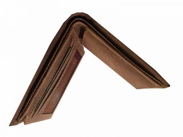 woodland portemonnaie büffelleder braun von oben