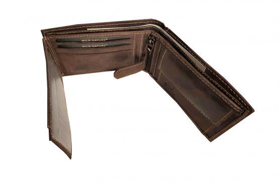braunes büffelleder portemonnaie aufgeklappt